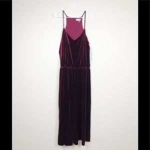 1. State Burgundy Velour Jumpsuit Large